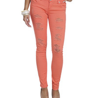 Bright Color Destroyed Skinny Jean | Shop Sale at Wet Seal