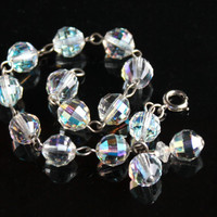 Vintage Aurora Borealis Crystal Bracelet - Clear Glass Bead Iridescent Costume Jewelry / Rainbow Facets