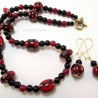 Black and Burgundy Necklace and Earring Set by DesignedbyAudrey on Zibbet