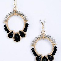Black Beaded Hoop Earring