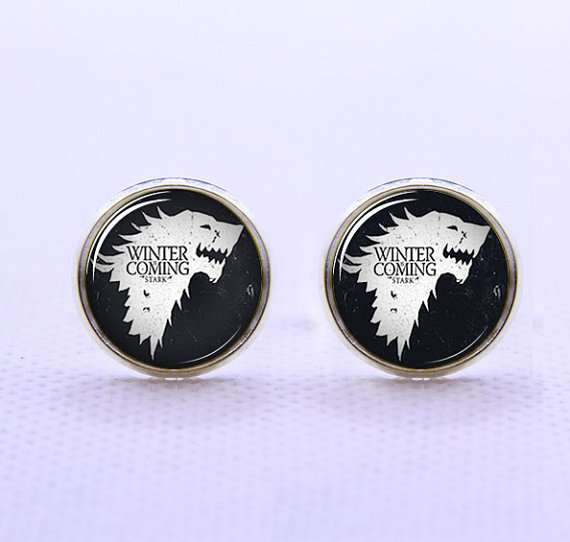 Game of thrones cufflinks mens silver from artpendant on etsy for Game of thrones gifts for men