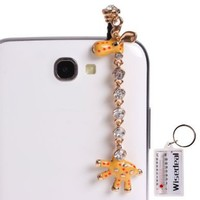 Wisedeal 3.5mm Bling Crystal Rhinestones Giraffe Pattern Cellphone Charms Anti-Dust Dustproof Earphone Audio Headphone Jack Plug Stopper for iPhone 4 4S Samsung Galaxy S2 S3 Note I9220 HTC Sony Nokia Motorola LG Lenovo (Yellow):Amazon:Cell Phones & Accesso