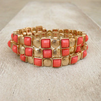 Modern Wrap Bracelet in Coral [4092] - $21.00 : Vintage Inspired Clothing & Affordable Summer Frocks, deloom | Modern. Vintage. Crafted.