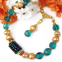 Aqua Glass Gold Pearl Bracelet African Bead Adjustable Handmade OOAK