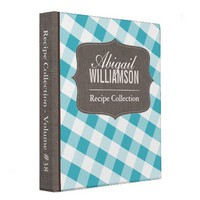 Turquoise & White Gingham Southern Recipe Binder from Zazzle.com