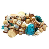 3 Row Shell Metal Stretch Bracelet - Blue/Gold