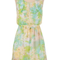 Floral Chiffon Ruffle Front Dress