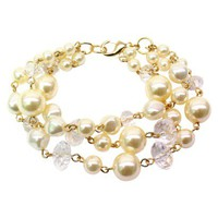 Multi Strand Bracelet with Pearls and Beads - Gold/White