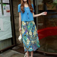 blue floral chiffon short sleeve dress final sale s122 from YRB