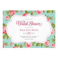 GIRLY VINTAGE CHIC ROSES FLORAL BRIDAL SHOWER INVITES from Zazzle.com