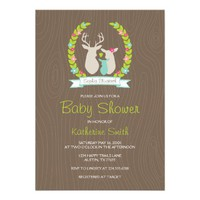WHIMSICAL WOODLAND DEER FAMILY BABY SHOWER CUSTOM INVITE from Zazzle.com