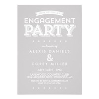 GRAY MODERN ENGAGEMENT PARTY ANNOUNCEMENT from Zazzle.com