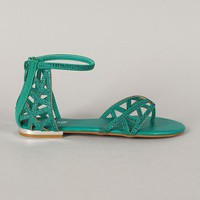 Bamboo Ambra-21 Cut Out Embellished Thong Flat Sandal