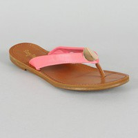 Sunny Feet Kendal-01 Metal Ornament Thong Flat Sandal