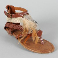 Fur-92 Feather Gladiator Thong Flat Sandal