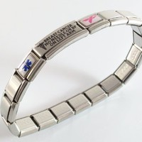 Amazon.com: Breast Cancer Lymphedema Medical ID Alert Italian Charm Bracelet Left: Jewelry