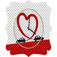 DENY Designs Home Accessories | Belle13 Polka Dot Car Love Quatrefoil Clock