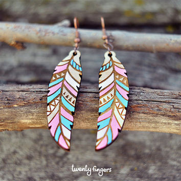 Pink & Blue Wood native earrings - feather (laser cut)