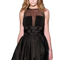 Black Sleeveless Dress with Mesh Neckline & Woven Waist Deta