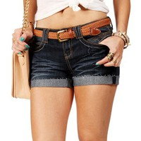 Dark Denim  Belted Shorts
