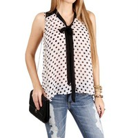 SALE-White Sleeveless Polka Dot Blouse