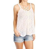 SALE-Ivory Knit Crochet Front Top