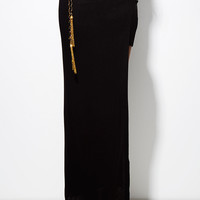 Pull My Chain Belt Slit Skirt in Black