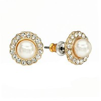 LC Lauren Conrad Gold Tone Simulated Crystal and Simulated Pearl Flower Button Stud Earrings