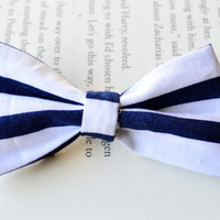 Striped Navy Bows, Fabric Bows, Navy Nautical Theme, Summer Fashion, Trendy Hair Accessories, Party Favors, Birthday Gift