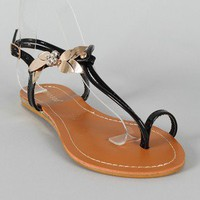 Bamboo Saili-13 Flower Toe Ring Flat Sandal