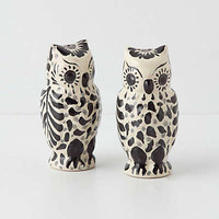 Anthropologie - Handpainted Folk Owl Salt & Pepper Shakers