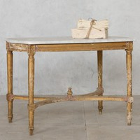 Eloquence One of a Kind Vintage Coffee Table Louis XVI Chipped Gold & Tan