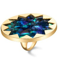 House of Harlow 1960 14KT Gold Starburst Cocktail Ring with Abalone