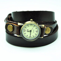 Vintage Style Brown Leather Bracelet  Wrap Watch, Rivet Bracelet Watch Handmade Women's Watch, Everyday Bracelet  RZ0329