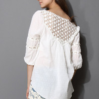 Polka Dots Crochet Collar Mid-Sleeve White Top
