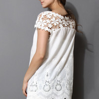 Scrolled Hemline Eyelet Crochet Shoulder White Top