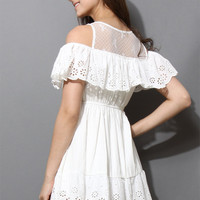 Eyelet Scrolled Trims White Lace Dress