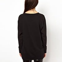 Glamorous Sweatshirt With Chiffon Sleeve at asos.com