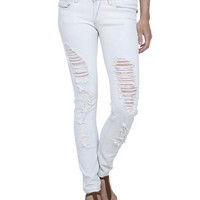 Beached Destroyed Skinny Jean | Shop Americana at Wet Seal