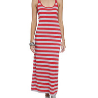 2 Color Stripe Maxi Dress | Shop Americana at Wet Seal