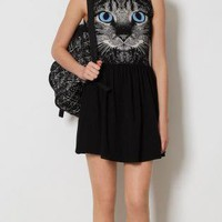 Cat Face Print Tank Cotton Dress