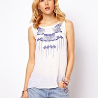 Mango Aztec Embroidered Top at asos.com