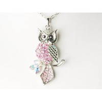 Pink Crystal Rhinestone Silver Tone Lady Leaf Owl Body Long Pendant Necklace