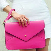 Oversize Vegan Leather Envelope Clutch Purse Bag / Rose Pink from EastWorkshop