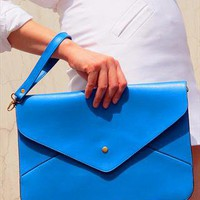 Oversize Vegan Leather Envelope Clutch Purse Bag / Blue from EastWorkshop