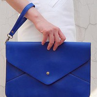 Oversize Vegan Leather Envelope Clutch Purse Bag / Sapphire from EastWorkshop