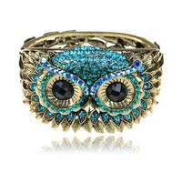 Antique-Inspired Gold-Tone Blue Crystal Rhinestone Hoot Owl Face Bracelet Bangle