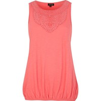 Pink crochet neck trim bubble hem top - plain t-shirts / tanks - t shirts / tanks / sweats - women