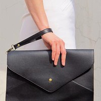 Oversize Vegan Leather Envelope Clutch Purse Bag / Black from EastWorkshop