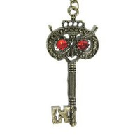 Owl Skeleton Key Necklace Vintage Ruby Red Crystal Eyed Charm Antique Bird Pendant Fashion Jewelry